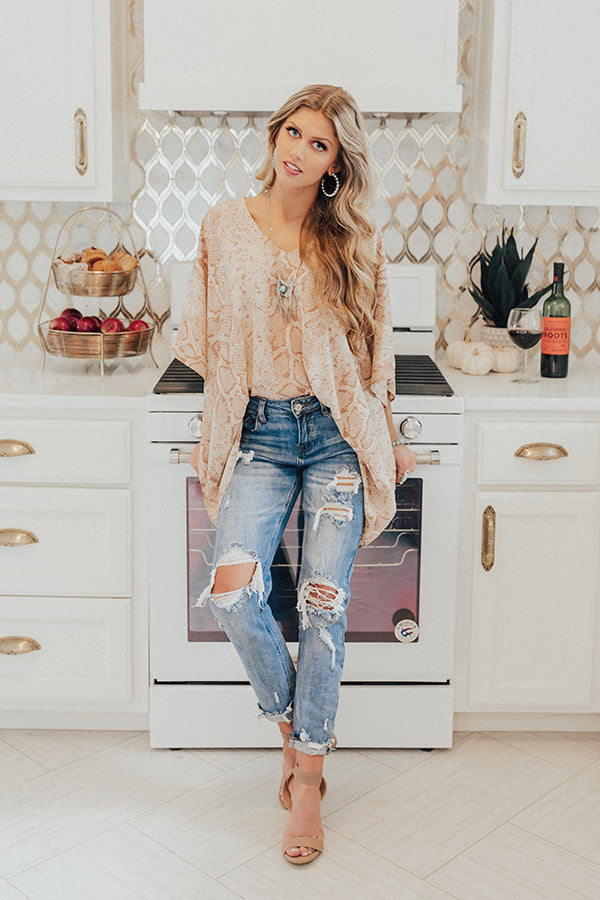 Love In Napa Snake Print Shift Tunic in Iced Latte