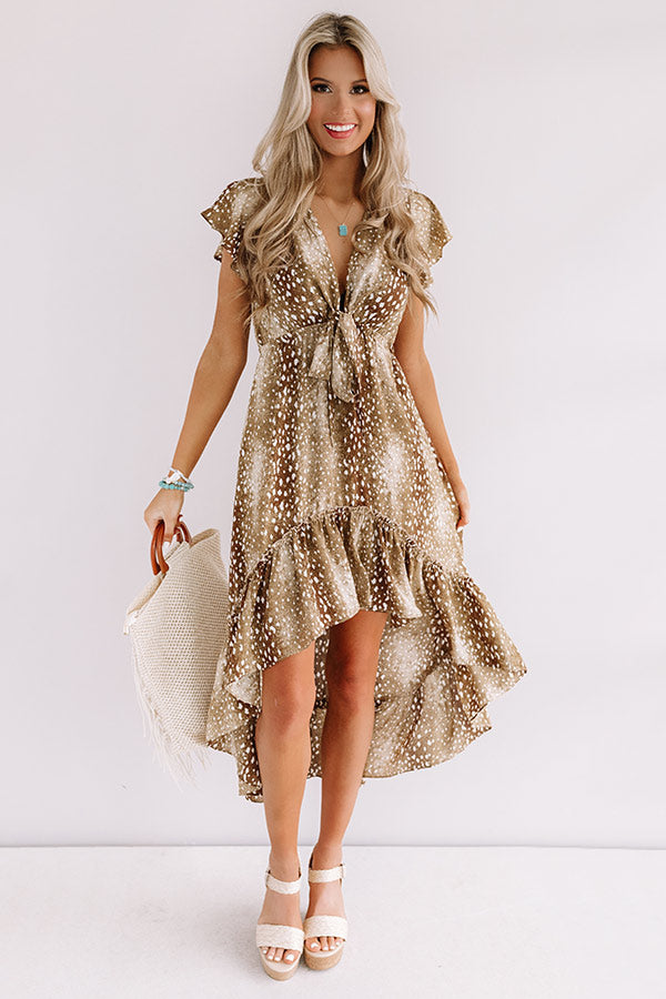 Cider In Aspen Ruffle Dress in Brown