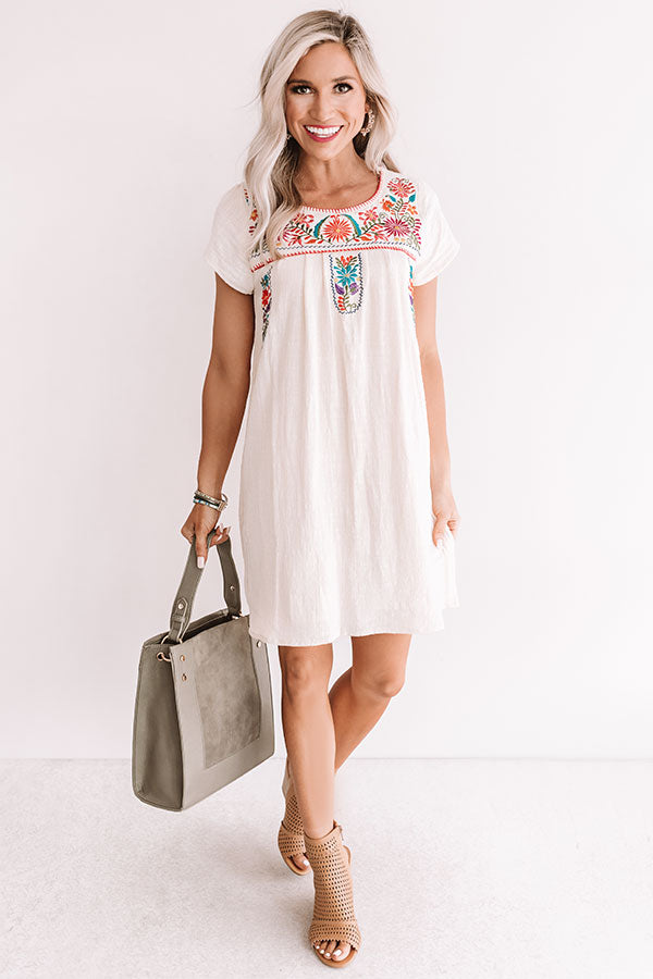Divine Details Embroidered Shift Dress In Cream