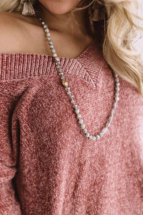 Classic Times Semi Precious Necklace In Grey