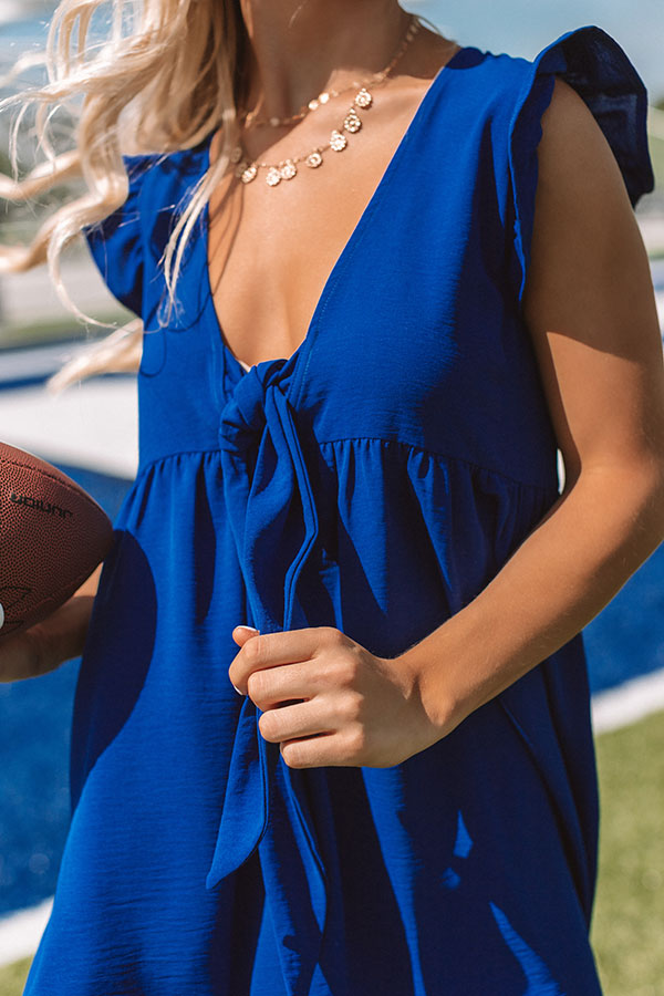 Champs And Cheers Front Tie Dress in Royal Blue