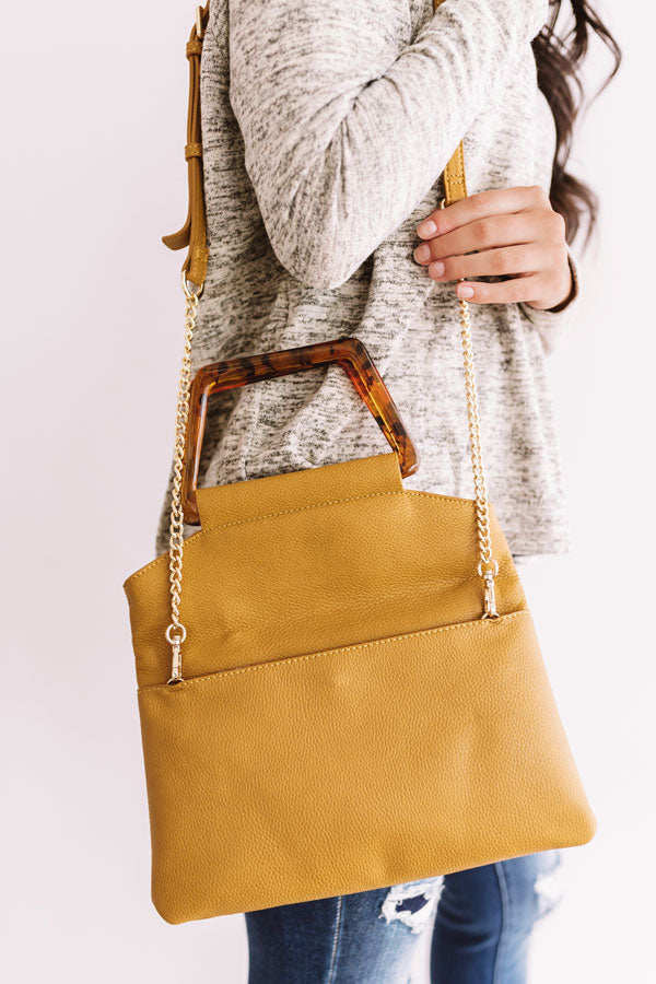 Friday Night Lights Faux Leather Crossbody In Mustard