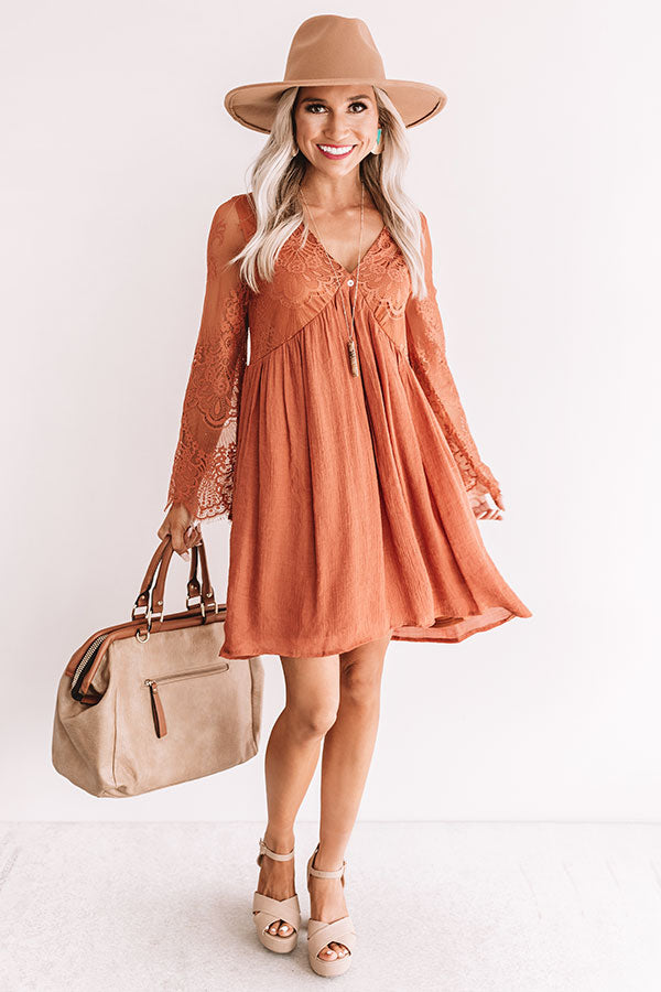 Vintage Vibes Lace Babydoll Dress In Rust