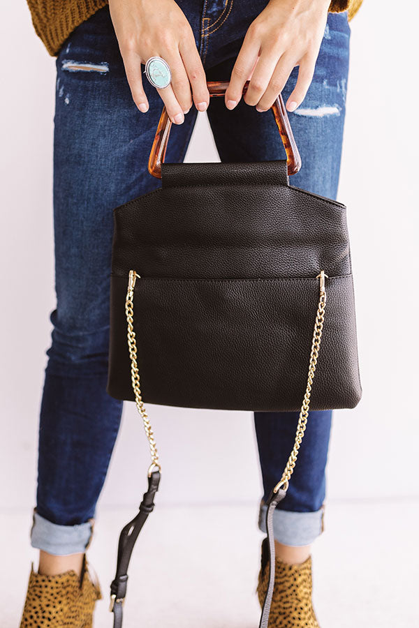 Friday Night Lights Faux Leather Crossbody In Black