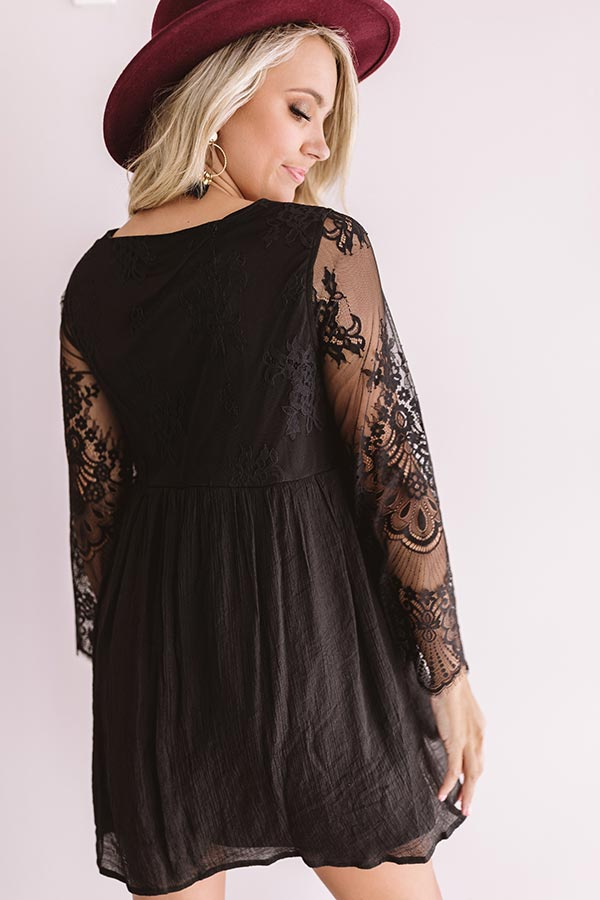 Vintage Vibes Lace Babydoll Dress In Black