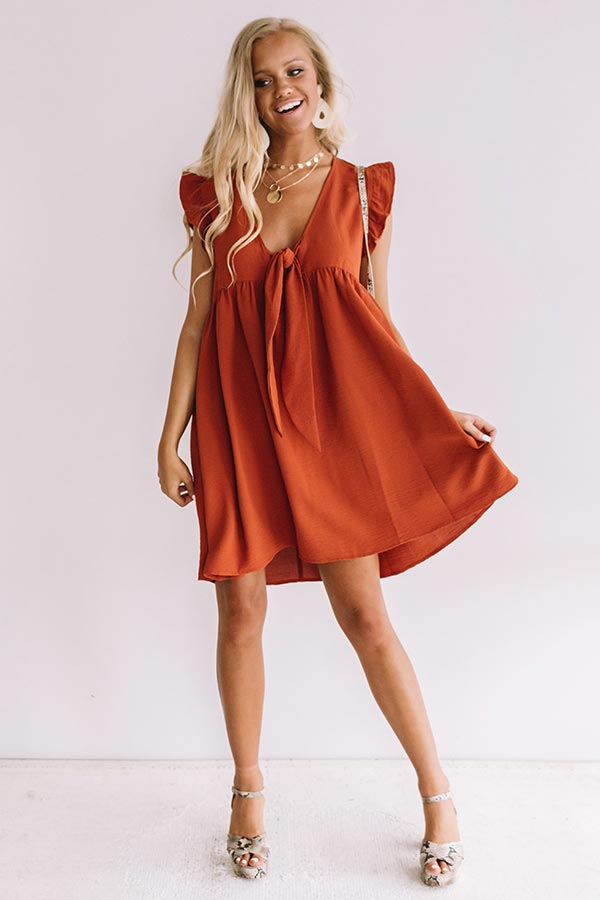 Champs And Cheers Front Tie Dress in Rust