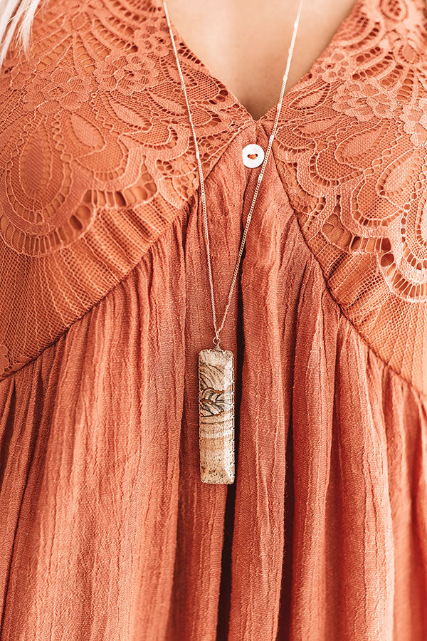 Off Duty Beauty Semi Precious Necklace In Brown