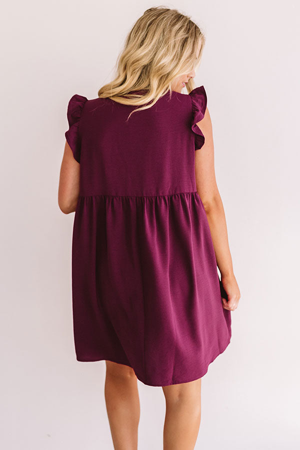 Champs And Cheers Front Tie Dress in Windsor Wine