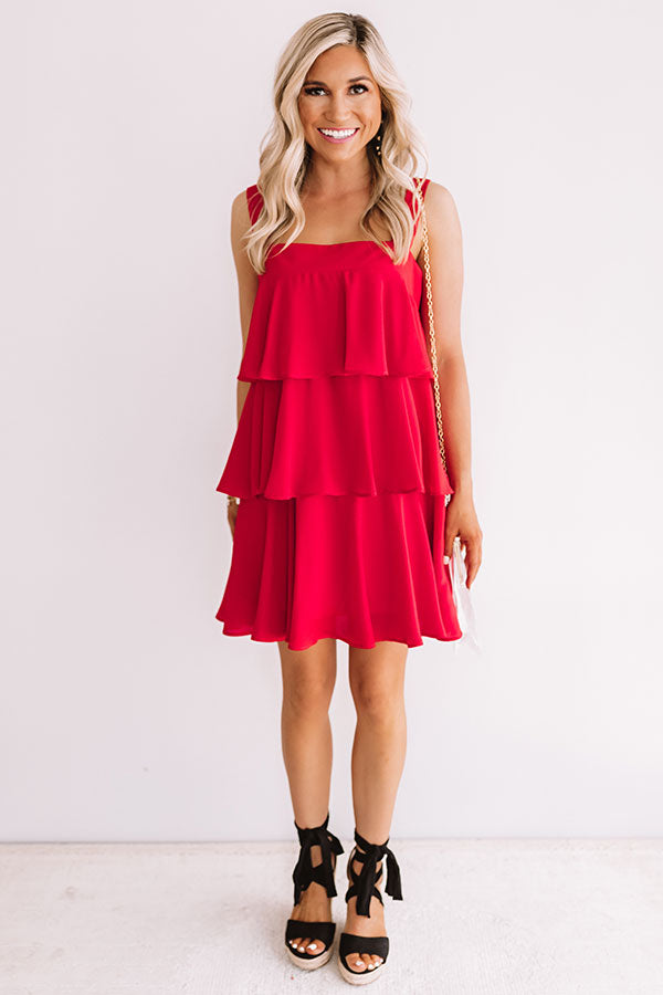 Darling Destination Tiered Dress in Red
