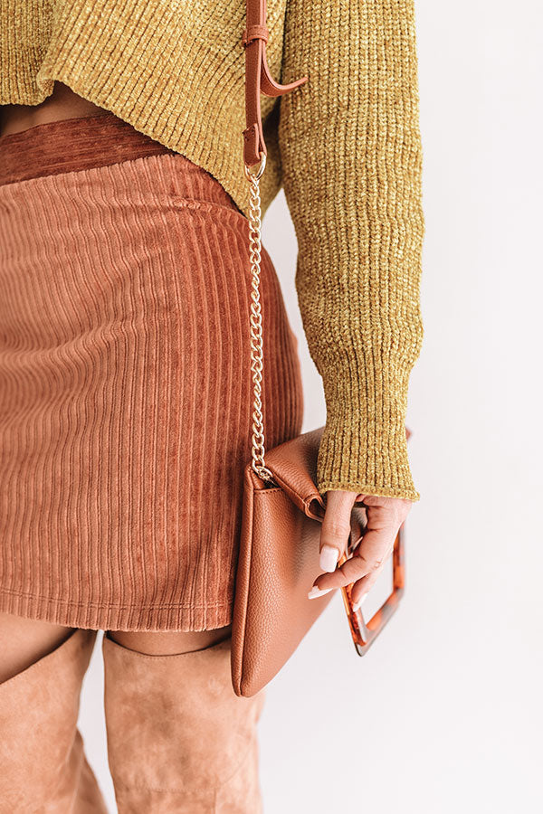 Friday Night Lights Faux Leather Crossbody In Cinnamon