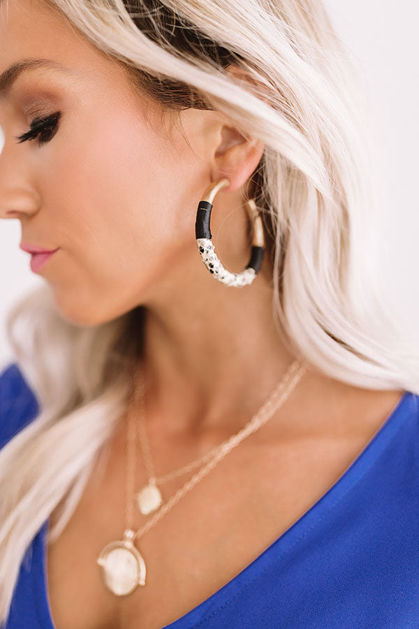 Your Biggest Fan Snake Print Earrings In Black