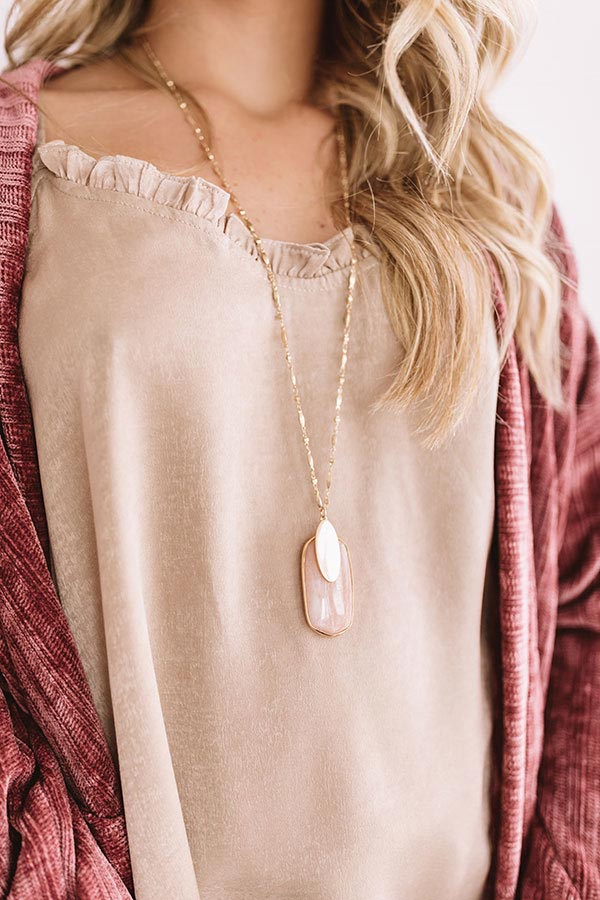 Love Language Semi Precious Necklace In Rose Quartz