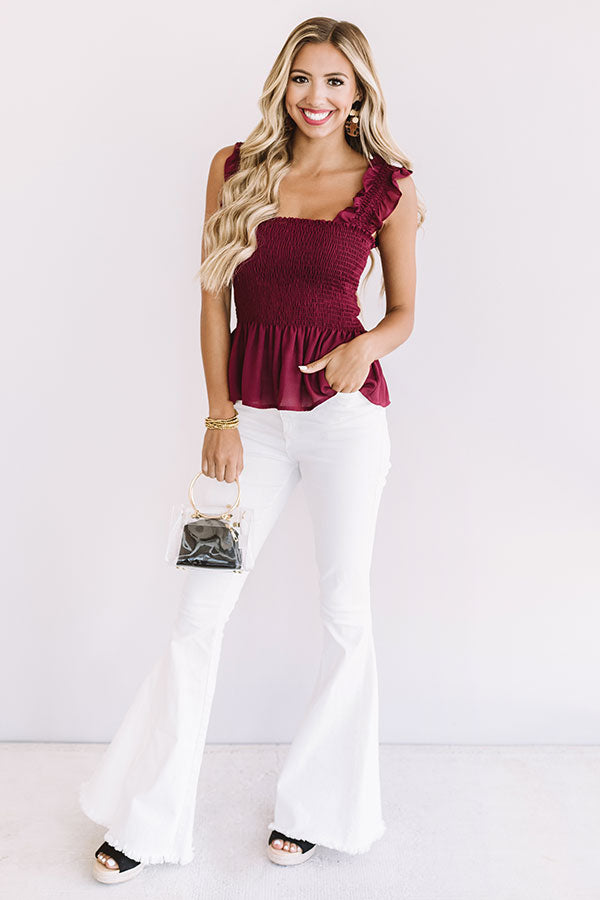 Game Day Glam Smocked Peplum Tank in Maroon