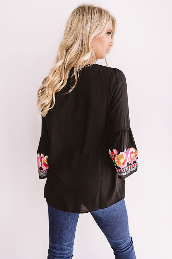 Road To Paradise Embroidered Top In Black