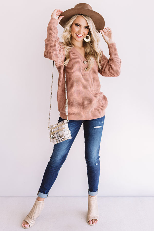 Warm Up Buttercup Knit Sweater In Blush