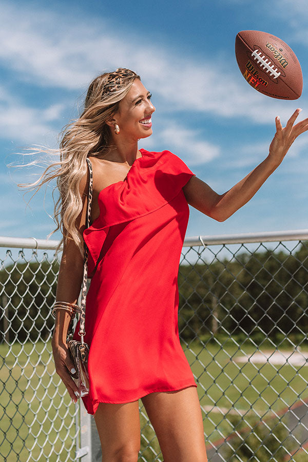 Spotted In The Stadium Shift Dress in Red