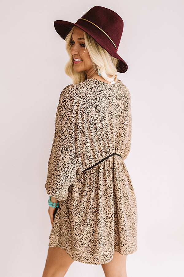 Napa Valley Vino Leopard Babydoll Tunic Dress In Brown