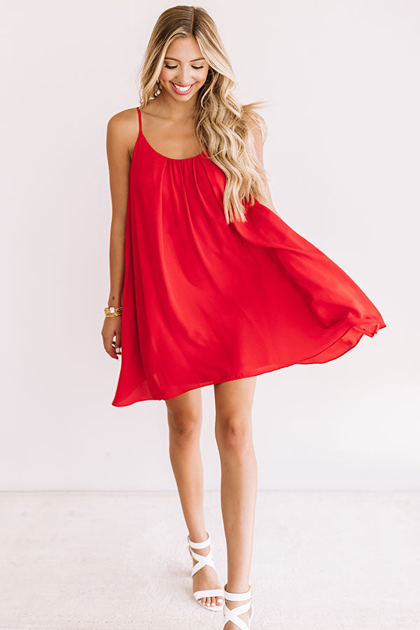 Tailgate Season Shift Dress in Red