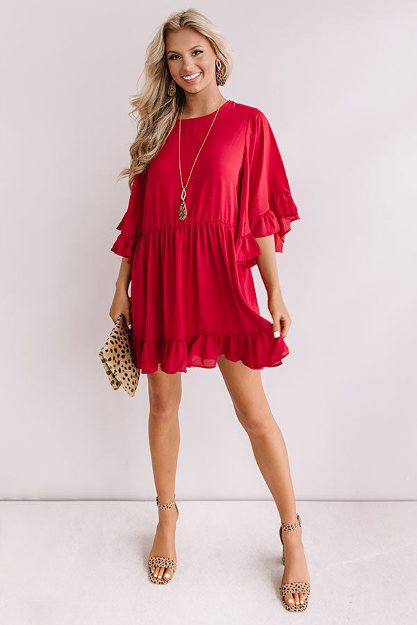 Sunshine Swing Shift Dress in Crimson