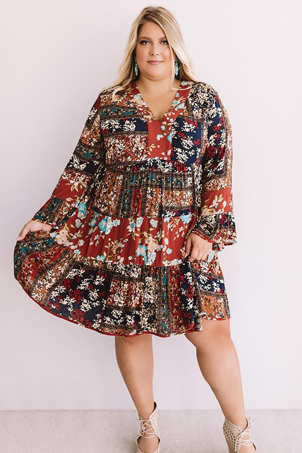 Bliss And Bouquets Babydoll Dress in Rust