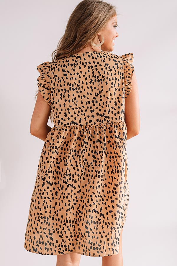 Champs And Cheers Leopard Front Tie Dress