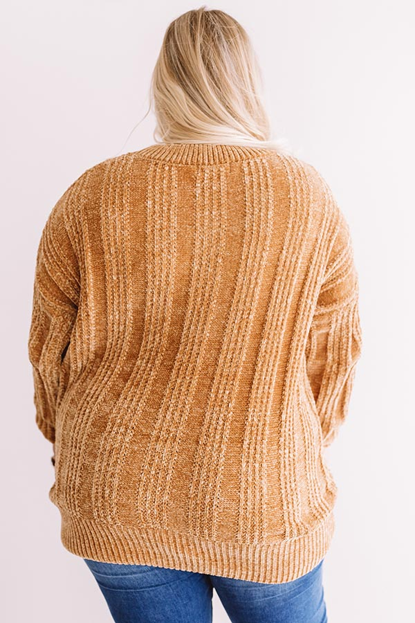 Lattes And Snuggles Cable Knit Chenille Sweater In Mustard