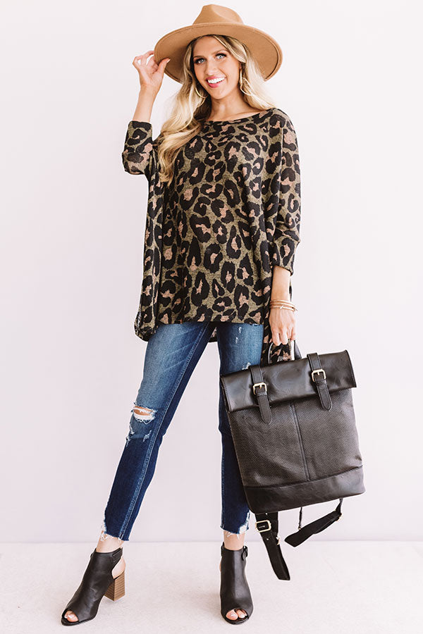 Spotted On The Runway Leopard Shift Top In Olive