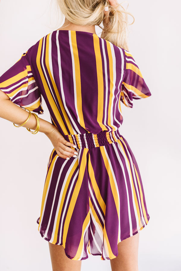 Full Of Spirit Front Tie Stripe Romper in Purple