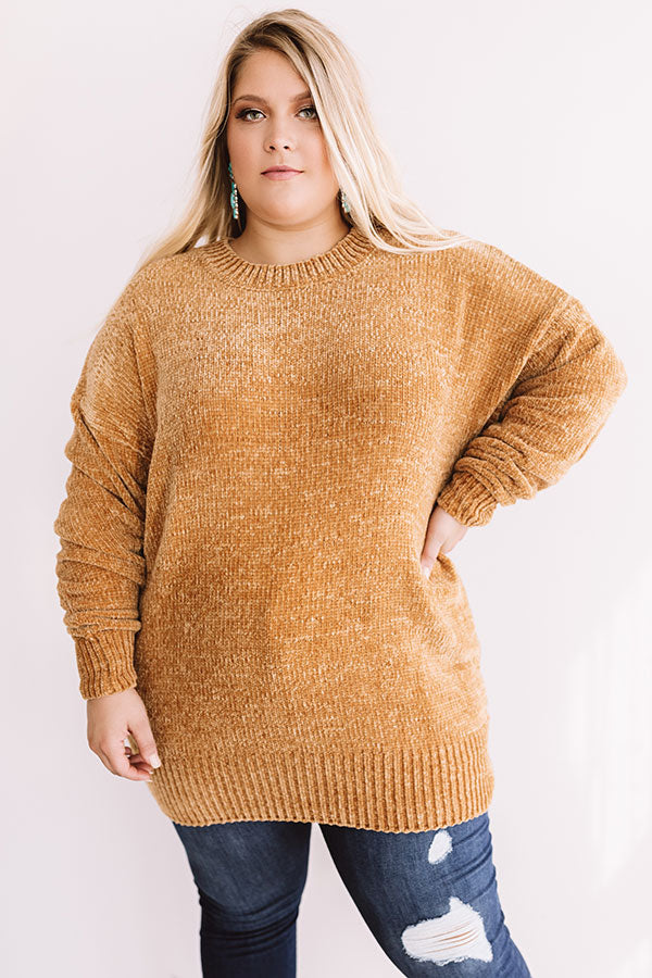 Cozy Celebration Chenille Sweater In Mustard
