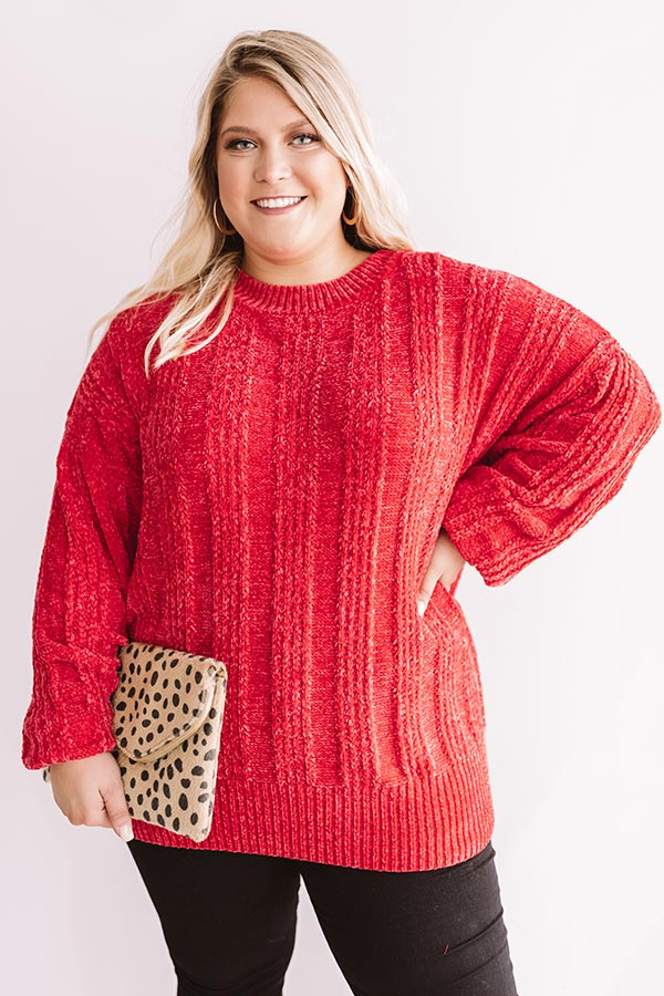 Lattes And Snuggles Cable Knit Chenille Sweater In Raspberry