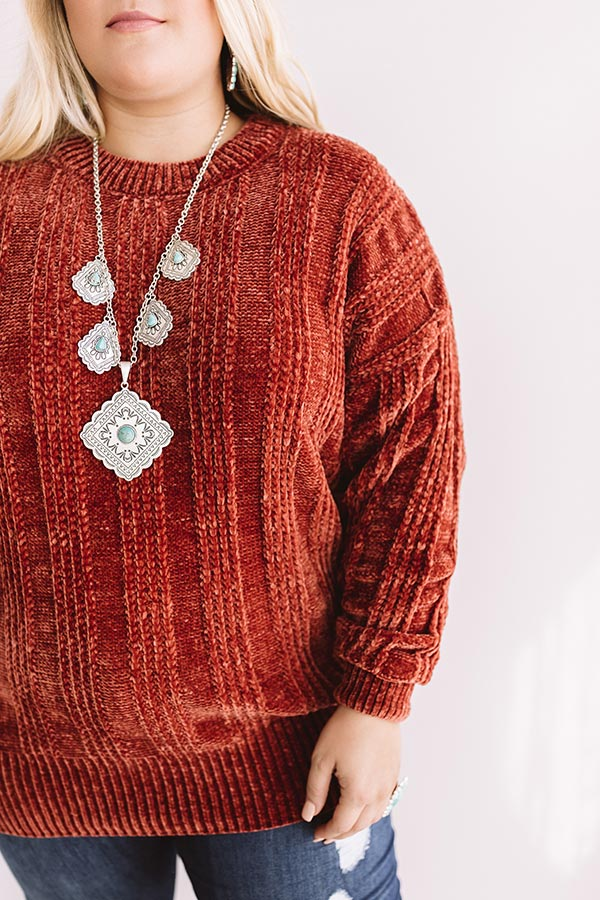 Lattes And Snuggles Cable Knit Chenille Sweater In Rustic Rose