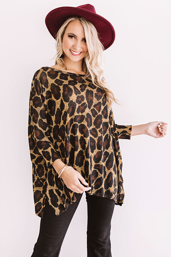 Spotted On The Runway Leopard Shift Top In Mustard
