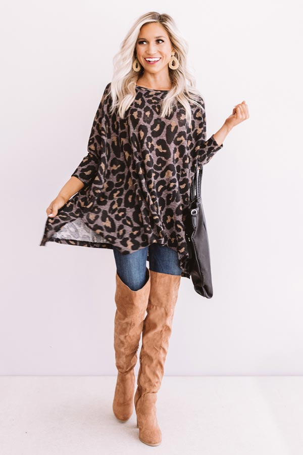 Spotted On The Runway Leopard Shift Top In Hazelnut
