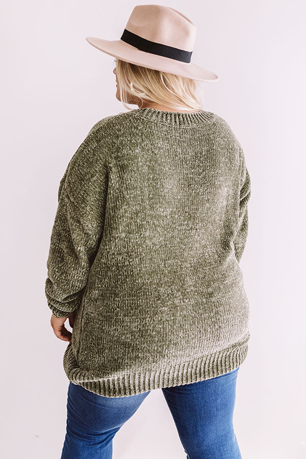 Cozy Celebration Chenille Sweater In Sage