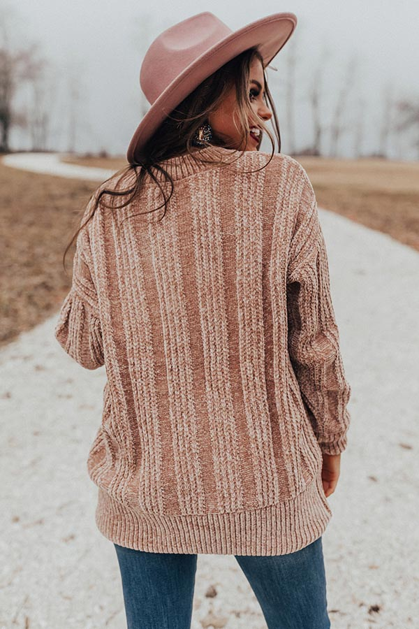 Lattes And Snuggles Cable Knit Chenille Sweater In Iced Latte
