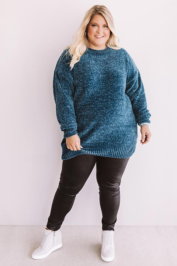 Cozy Celebration Chenille Sweater In Teal