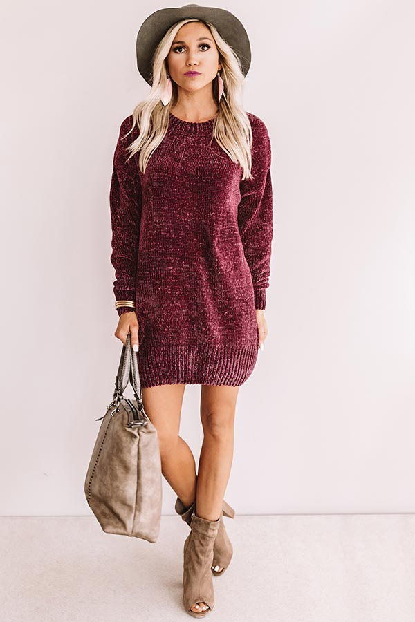 Cozy Celebration Chenille Sweater In Windsor Wine