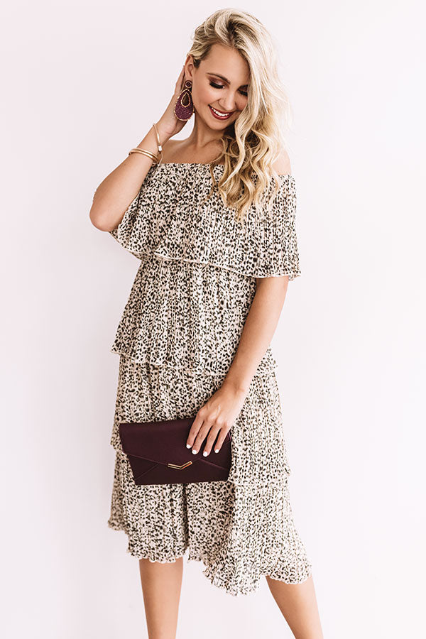 Top Tier Leopard Dress in Birch