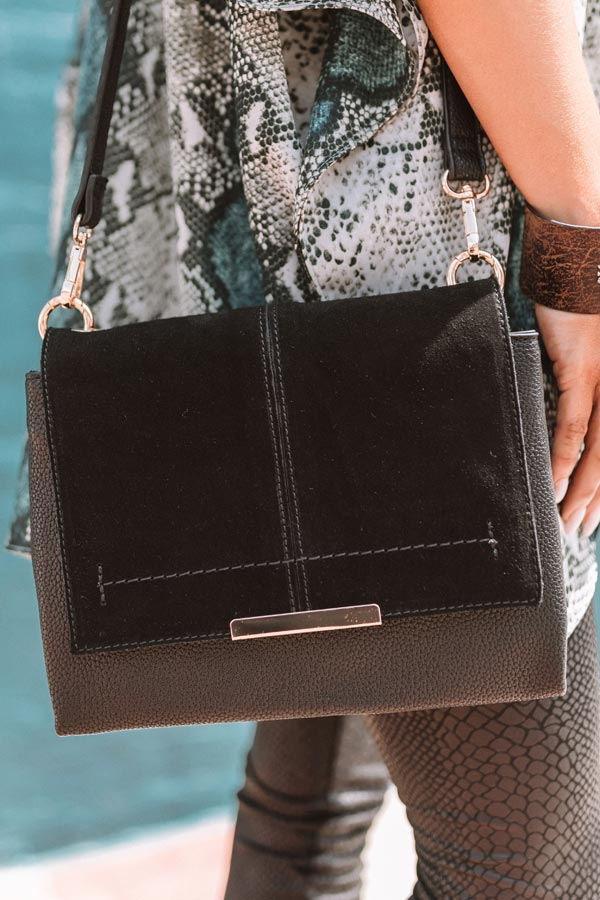 Champagne And Chic Faux Leather Crossbody In Black