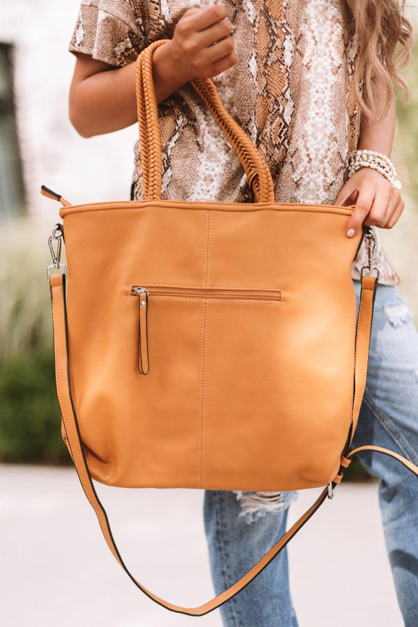 Brunch And Bonding Faux Leather Tote In Golden Honey