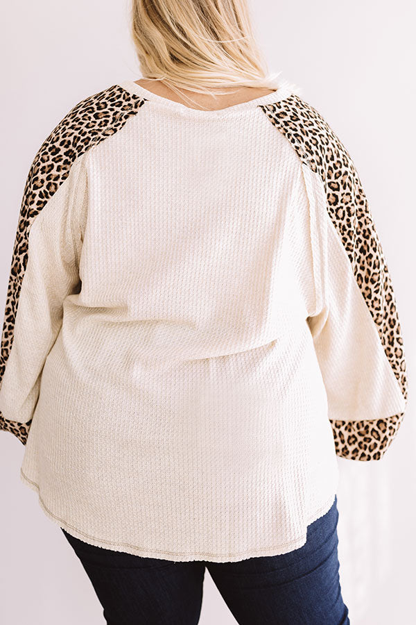 Spotted in Brooklyn Waffle Knit Shift Top In Cream