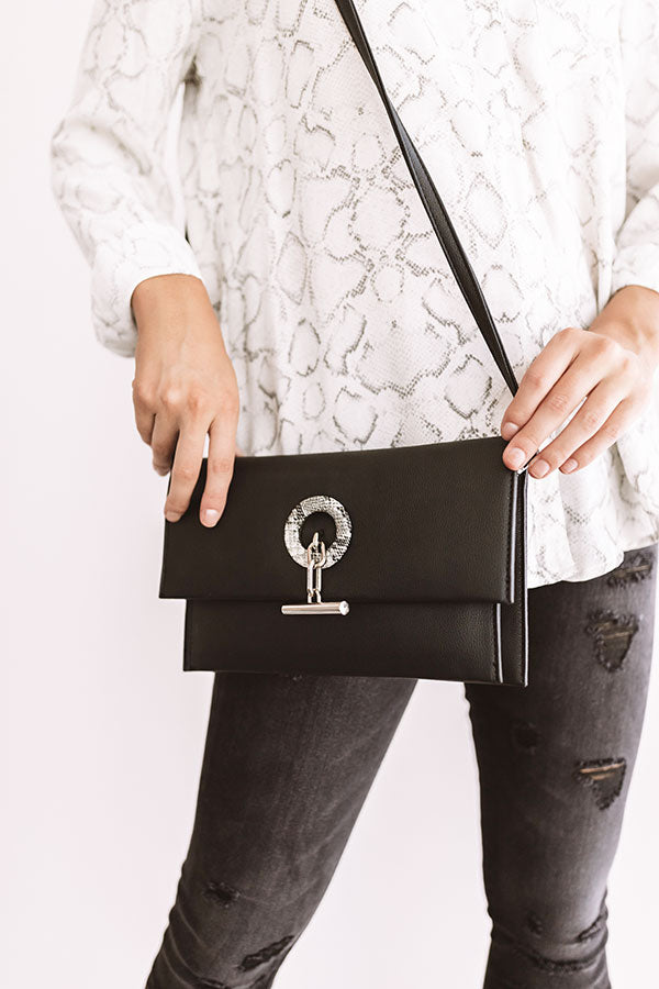 City Nights Faux Leather Clutch In Black