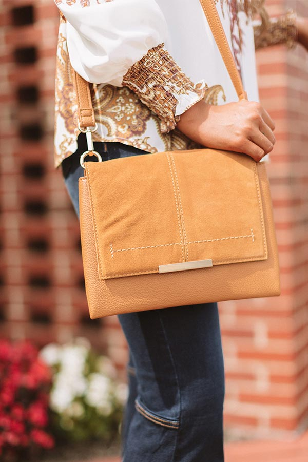 Champagne And Chic Faux Leather Crossbody In Camel