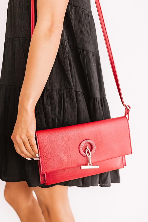 City Nights Faux Leather Clutch In Crimson