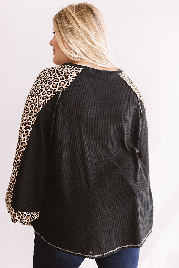 Spotted in Brooklyn Waffle Knit Shift Top In Black
