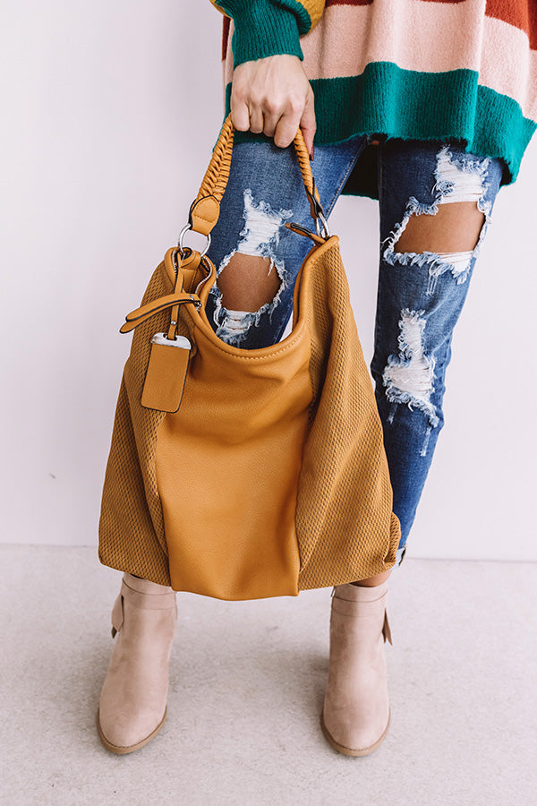 Bonding Over Bellinis Faux Leather Tote In Golden Honey
