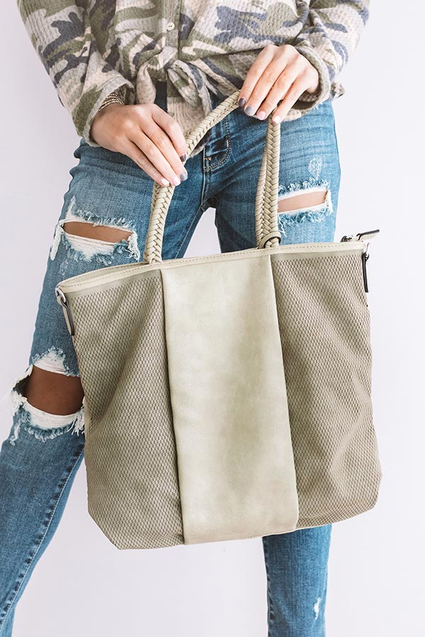 Brunch And Bonding Faux Leather Tote In Sage