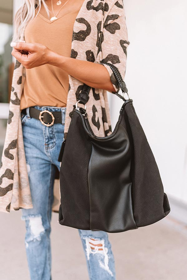 Bonding Over Bellinis Faux Leather Tote In Black