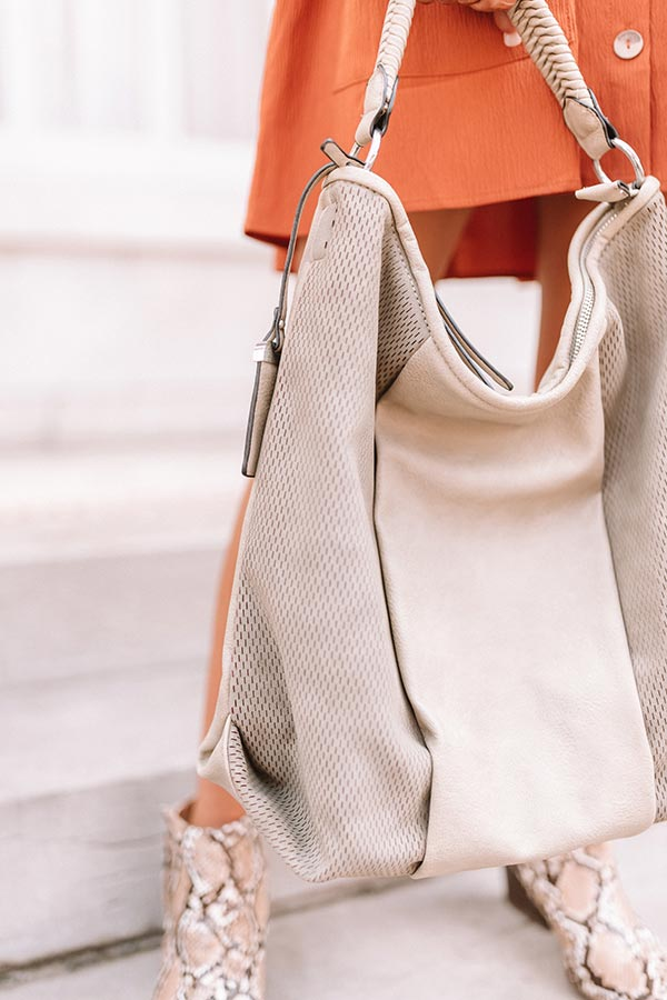 Bonding Over Bellinis Faux Leather Tote In Sage