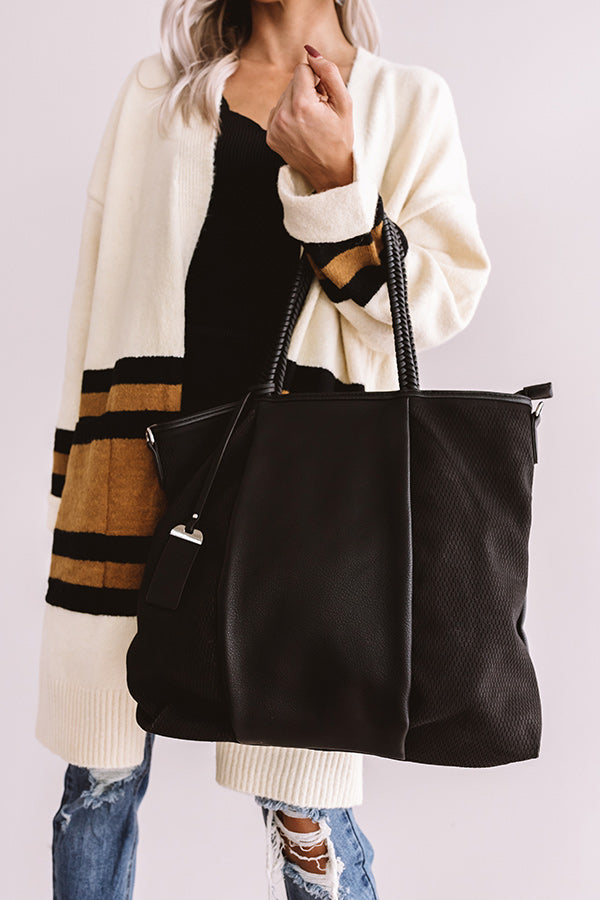 Brunch And Bonding Faux Leather Tote In Black